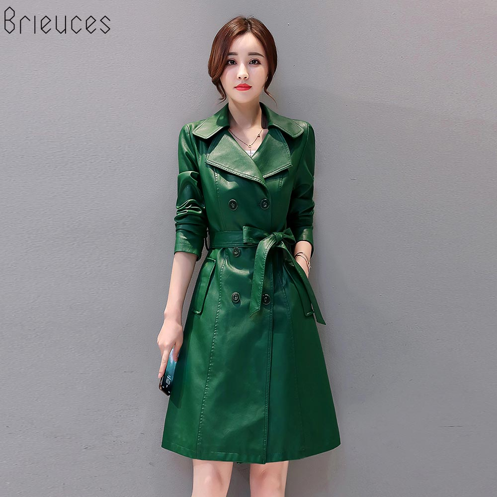 Brieuces Women Long   Leather   Jacket 2018 New Fashion Ladies Elegant PU   Leather   Coats Trench Female Outerwear With Belted Plus 4XL