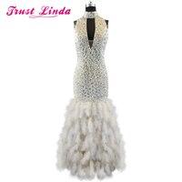 Высокий воротник с жемчугом и стразами русалка платье Мать оплетка платье для Свадебная вечеринка индивидуальный заказ