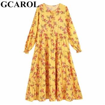 5b057921372648e GCAROL 2019 Весна Летняя с цветочным принтом желтое длинное платье с  высокой талией Плиссированное Макси платье женское пляжное Prairie стиль  плать.