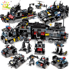 695PCS 8in1 SWAT Police command Truck Building Blocks City Helicopter legoingly model Bricks kit Educational Toys for Children(China)