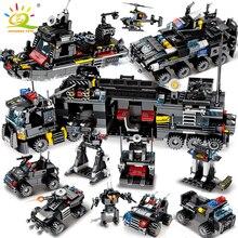 HUIQIBAO 695 шт. 8в1 SWAT полицейская команда грузовик строительные блоки городской вертолет модель кирпича комплект Развивающие игрушки для детей
