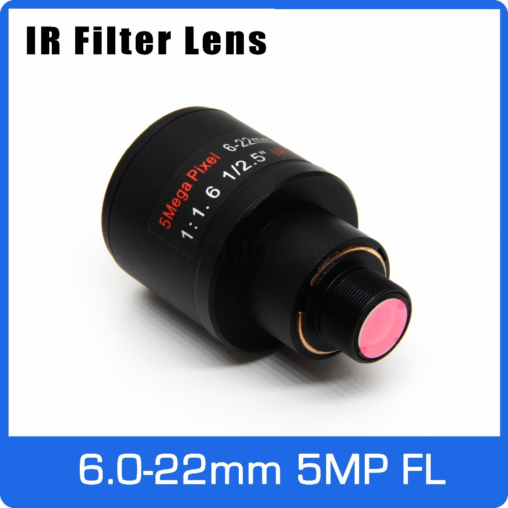5 megapíxeles lente Varifocal con filtro IR 6-22mm M12 montaje 1/2 5 pulgadas de enfoque Manual y Zoom para Cámara de Acción de larga distancia vista