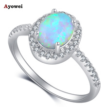 Ayowei White ring style design White fire Opal Silver Stamped Zircon Rings fashion jewelry USA size #6 #7 #8 #9#10 OR898A