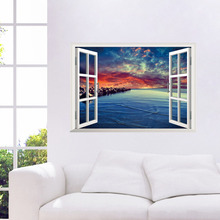 2015 Newest Beach Corner 3D Window View Removable Wall Sticker Vinyl Home Decal Wallpaper PAW012 window elk landscape printed removable wall decal
