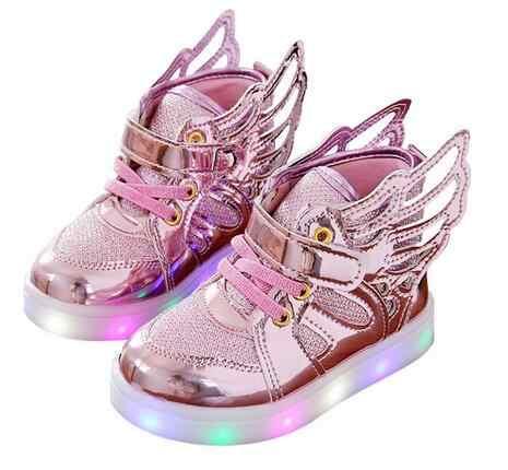 เด็กใหม่เด็กรองเท้าส่องสว่างเด็กชายหญิง Flying Wing ที่มีสีสันเรืองแสงรองเท้าผ้าใบเด็กกีฬาคริสต์มาสขนาด 21