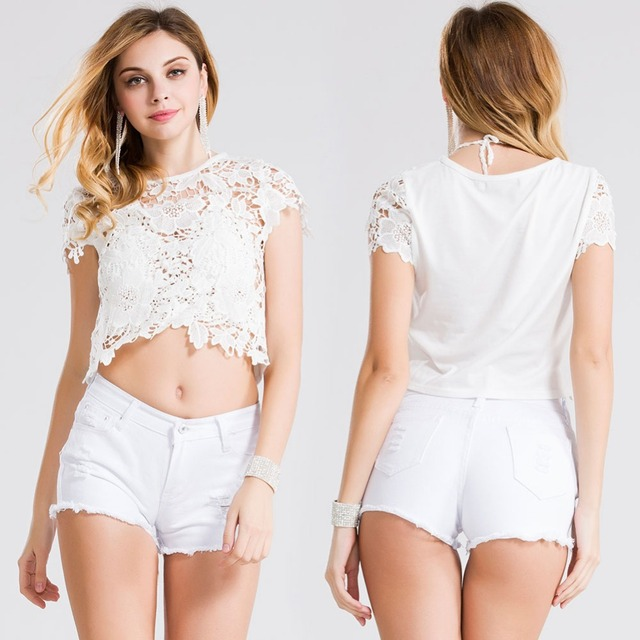 2016 mulheres do Vintage Crochet Top curto New Summer manga curta Sexy oco Out Lace curto Tops Tees Cropped Top ZH903