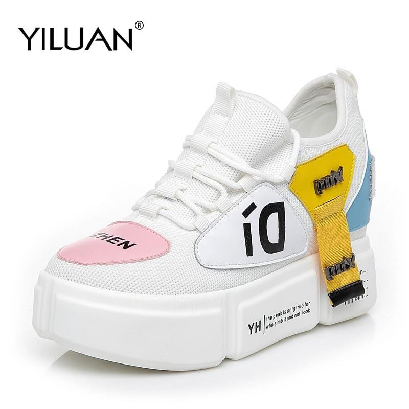Black Croissante Tricot Épaisse Des Cm Chunky white Semelle Sport Nouvelle forme 8 Yilluan De Course Chaussures Femmes Sneakers Hauteur Plate Respirant 6HaxW7