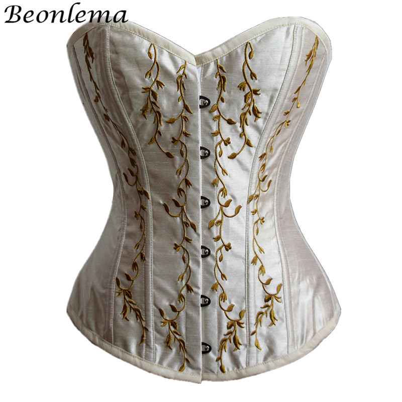 Beonlema Black Daily   Corsets   Women Waist Slimming   Bustiers   Gold Embroidery Sexy Lingerie Femme Corselet Punk Modeling Korset