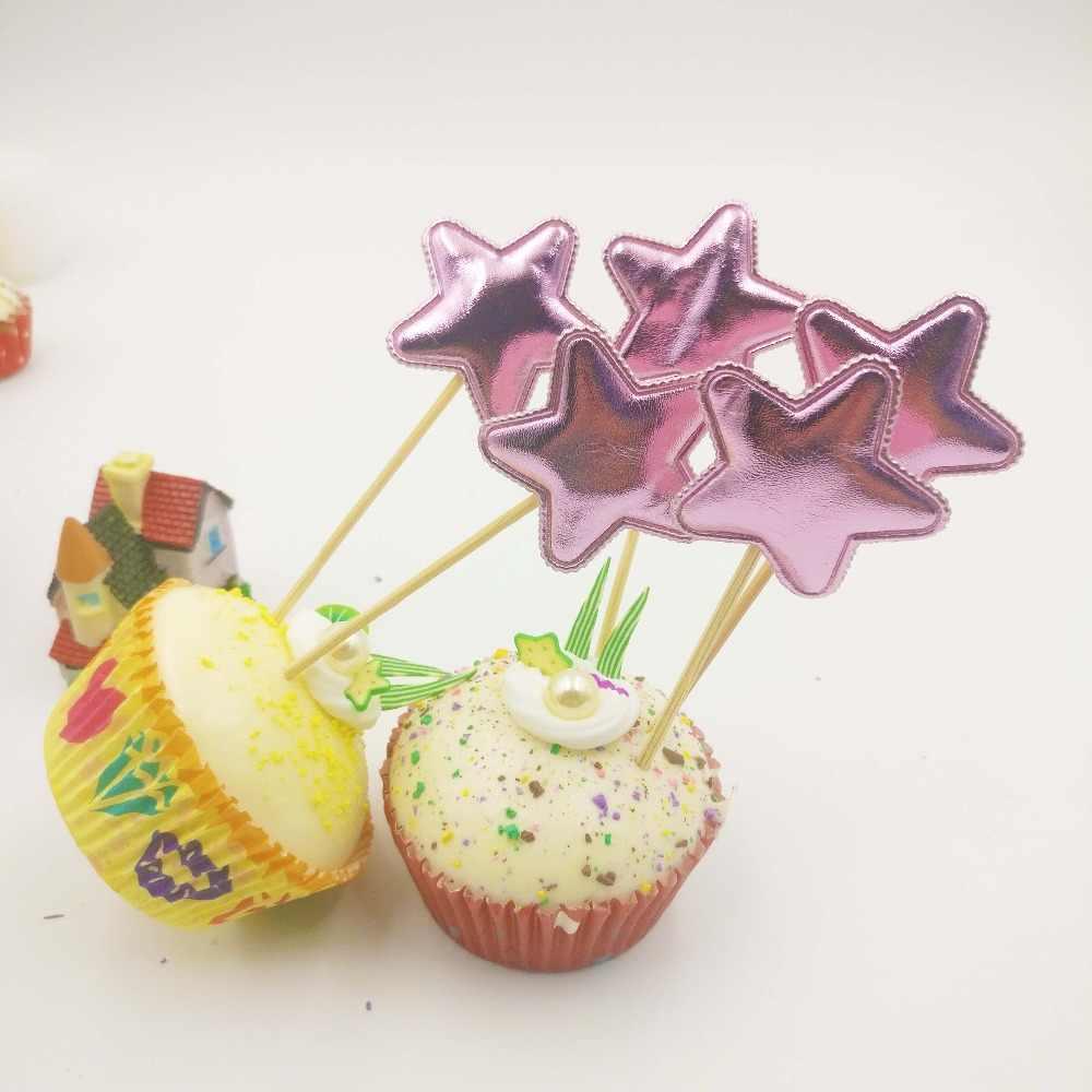 5 pçs/set violeta estrela de cinco pontas artesanal adorável cupcake toppers bolo de bebê suprimentos de festa de aniversário decoração de festa de casamento