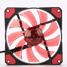 LED Fan Ultra Silent Computer PC Case Fan 15 LEDs 12V With Rubber Quiet Molex Connector Easy Installed Fan