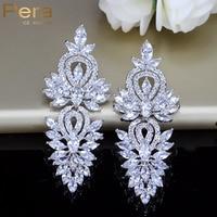 Bohemian Style Swiss Cubic Zirconia Diamond Long Big Dangling Luxury Bridal Wedding Earrings Jewelry Accessories For