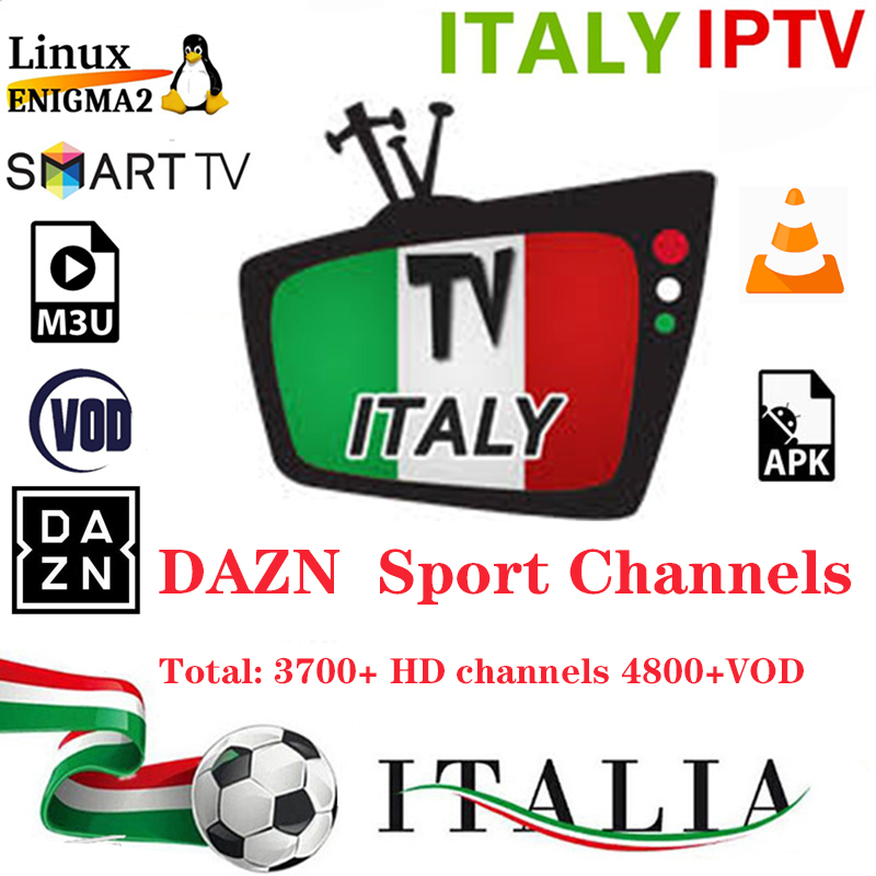 Italy IPTV M3U Subscription IPTV For 3700+channels 4800+HD VOD Mediaset Premium Support Android APK Smart Tv VLC Mag250 Enigma2