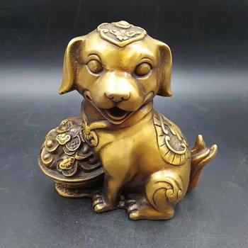 Bronze sculpture China carved Qianlong cornucopia   Wangcai copper Statue