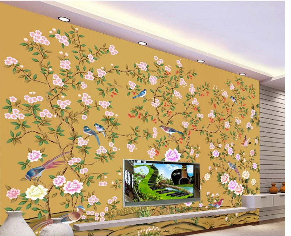 popular flower wall murals buy cheap flower wall murals lots from 3d customized wallpaper bathroom 3d wallpaper background wall mural hand painted flowers and birds 3d