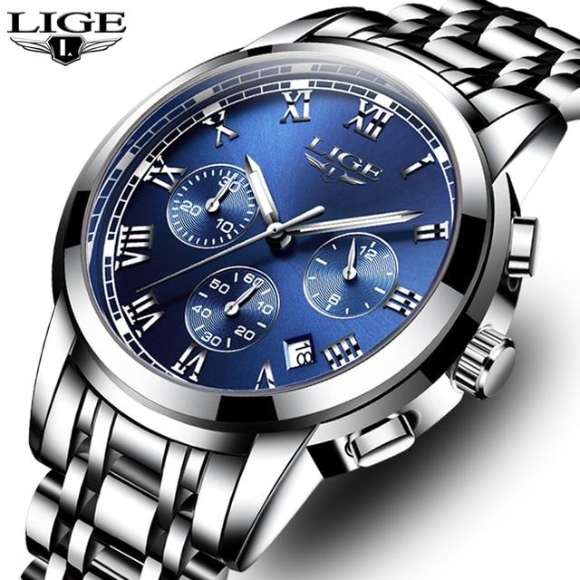 32ef1df4710 LIGE Mens Relógios Top Marca de Luxo relogio masculino de Negócios de Moda  Relógio de Quartzo