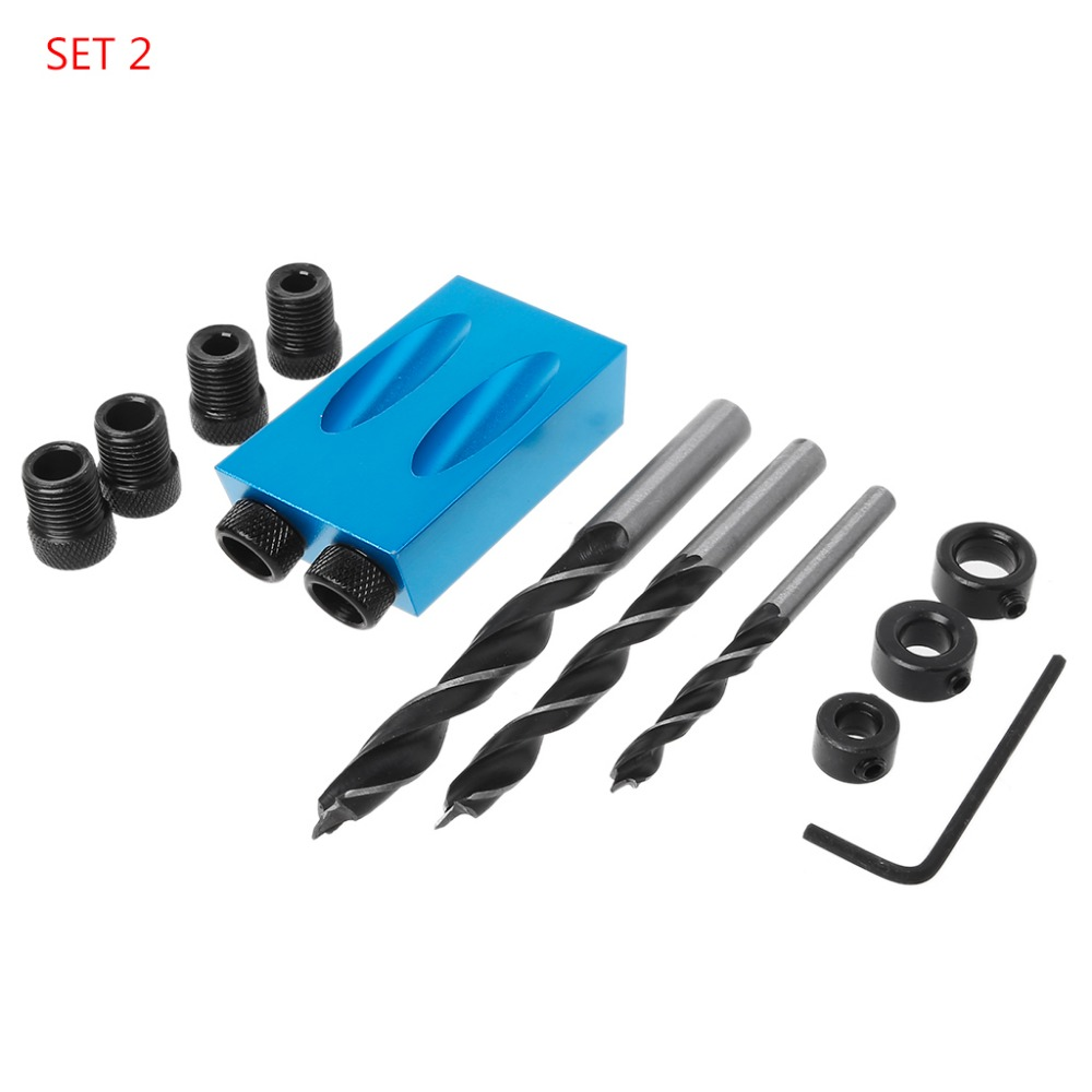 14pc/set 6/8/10mm Oblique Hole Locator Positioner Drilling Bits Jig Clamp Woodworking Kit