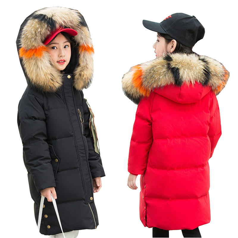 2018 New Style Children Down Jacket Girl Thickened Winter Coat Girls Fur Overcoat Children Outerwear Winter Jackets Coats 6-14