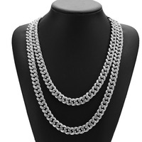 New Arrival MIAMI CUBAN LINK Full Cubic Zirconia Necklace Hip Hop Bling Jewelry Hipster Men Women Curb Clasp Chain Gold Silver