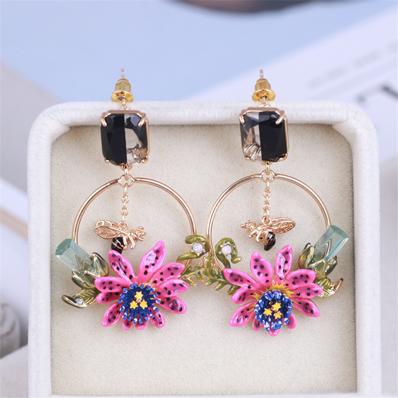 Warmhome Trendy Jewelry Enamel Glaze Cute Purple Spotted Flowers Bee Insect Plants Circle Gem Women Earrings faux gem geometric engraved insect ring