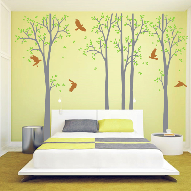 Five Huge White Tree Wall Decal Vinyl Stickers Birds Decals Baby ...