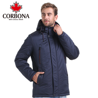 Corbona ماركة الشتاء معطف الرجال عارضة هوديي خليط القطن الحشو سترة الرجال ملابس الشتاء سترة الرجال