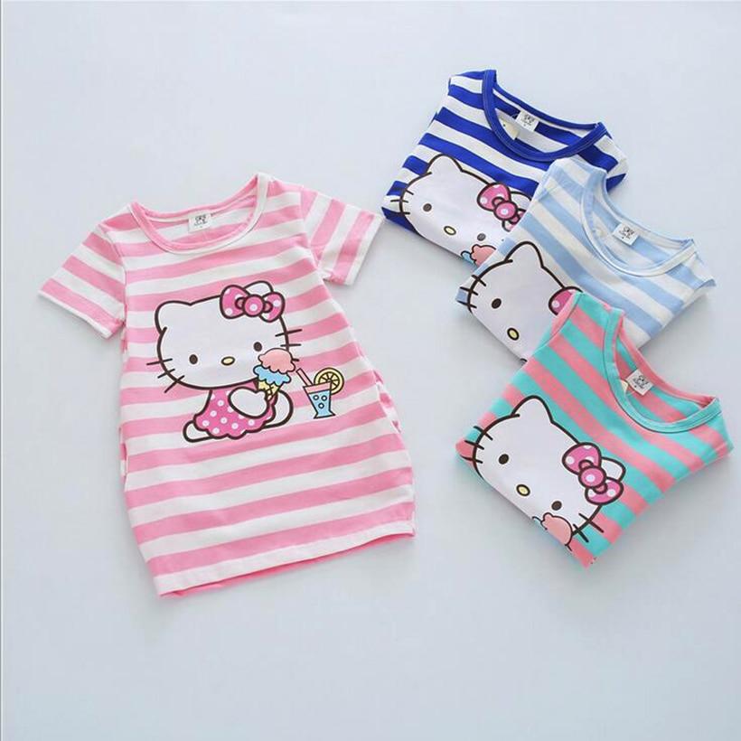 летние детские платья для девочек от 2 до 8 лет posts мультфильм платье для девочек «дональд DC» печать с двух сторон карман платье одежда для малышей одежда