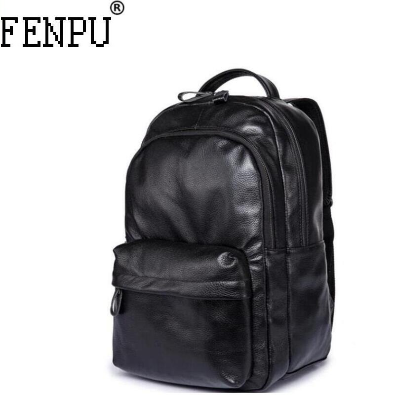 2018 New Large Capacity Genuine Leather Backpack High Quality Leather Backpack Female Large Size Computer Ofice Travel Bag