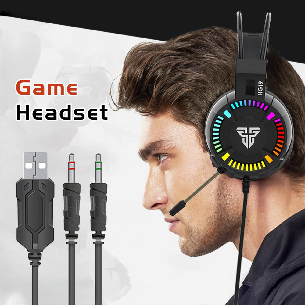 FANTECH HG19 RGB Gaming Headset Wired 3 5mm LED Stereo Deep Bass Over Ear Game Headphones with Microphone For Computer PC PS4 in Headphone Headset from Consumer Electronics