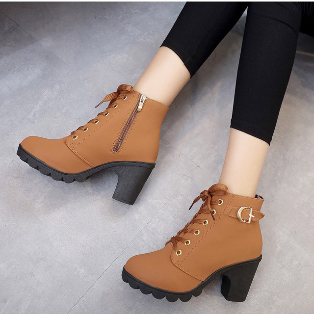 MCCKLE Plus Size Ankle Boots Women Platform High Heels Buckle Shoes Thick Heel Short Boot Ladies Casual Footwear Drop Shipping