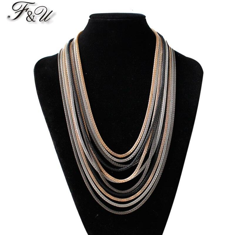 F & U coloré chaîne collier à la mode Unique Design pas cher en gros exquis multi-couches chaîne collier