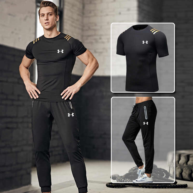 2019 sous armure hommes formation costumes ropa deportiva hombre gym Sports ensembles séchage rapide Fitness costume 2 pièces noir or M-4XL