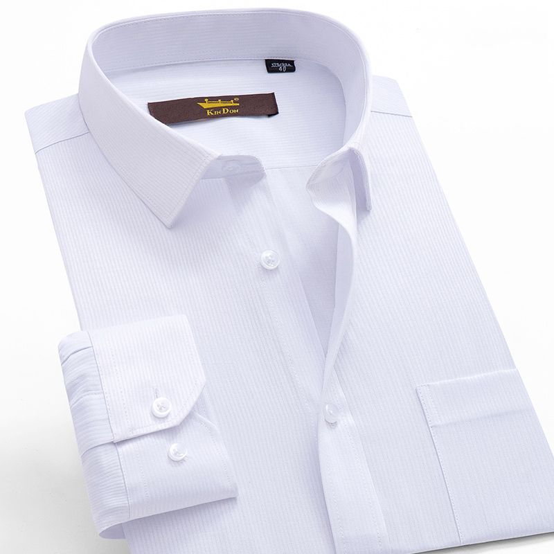 Men's Classic Plaid Striped Long Sleeve Dress Shirt Patch Chest Pocket White Formal Business Standard-fit Male Top Shirts