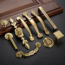 Высокое качество китайский античный латунный золотой ручкой Европейский стиль простой шкаф ящик выдвижные ручки