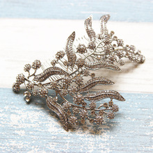 Jonnafe Shine Rhinestone Flower Bridal Headpiece Hair Comb Silver Wedding Jewelry Hair Accessories Women Tiara Hairwear