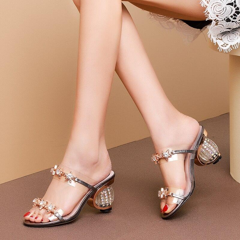 YMECHIC Lady Crystal Heels High Heel Sandals Women Fashion Summer Party Shoes Transparent Star Rhinestone Female