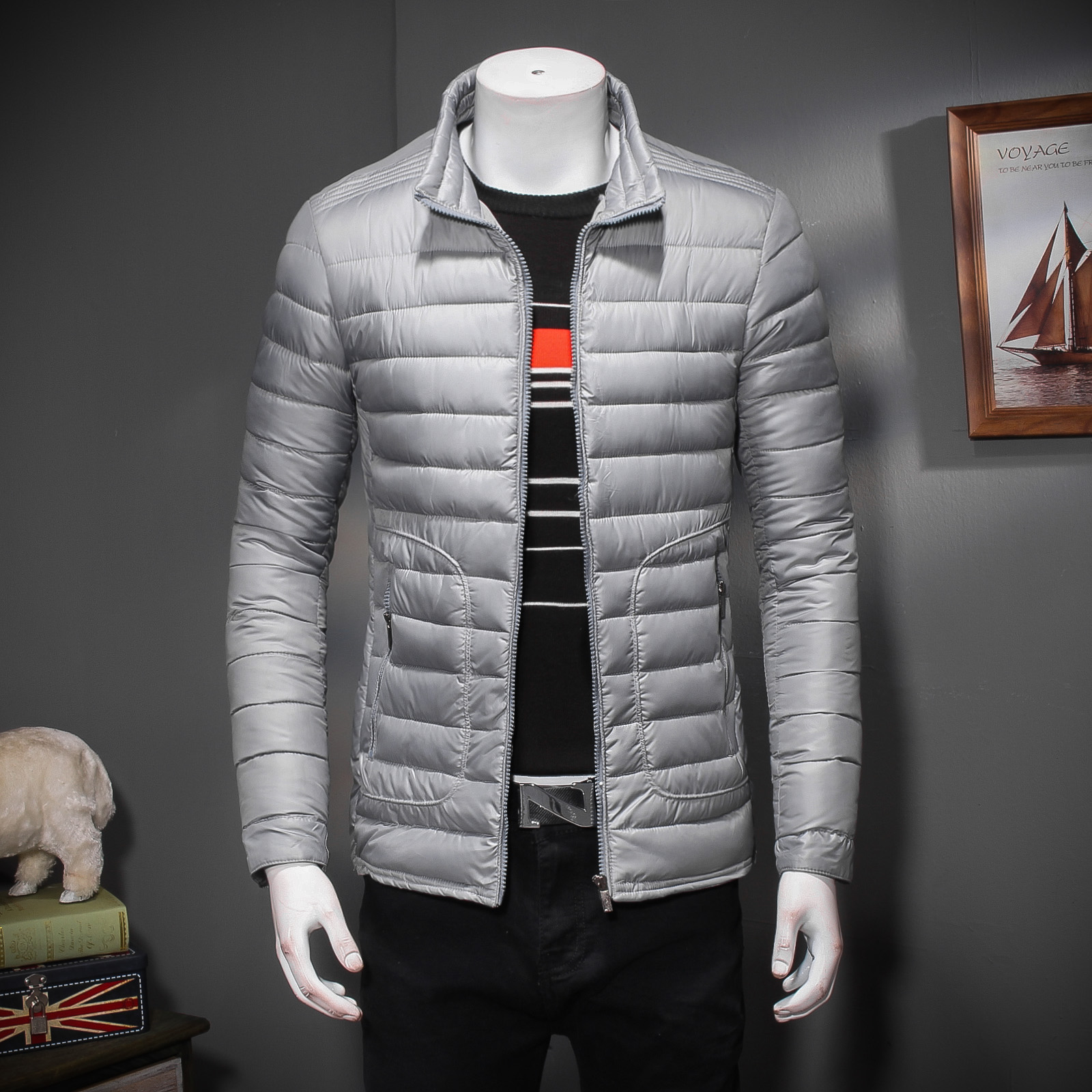 Winter new men down cotton-padded jacket leisure tide of brief paragraph coat collar young han edition cultivate one's morality 2017 winter version of the new south korean edition of cotton dress short dress and a large size cotton padded jacket