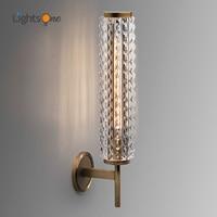 Postmodern copper wall lamp luxury crystal living room bathroom mirror headlight villa wall light