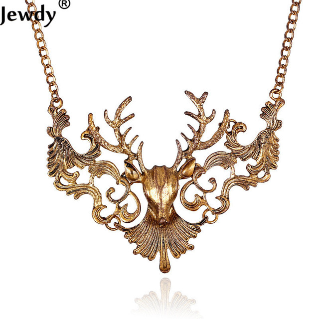Sunshine Vintage Charming Elk Deer Collar Pendant Merry Christmas Necklace Gift Statement Exquisite Fashion Choker Jewelry