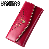 Korean style Hollow out Envelope women wallets Solid color Genuine Leather Top grade hasp mini Oil Wax Cowhide Card Holder purse