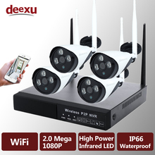 1080P 4CH Wireless NVR CCTV System WiFi 2.0MP Infrared Waterproof P2P IP Camera Security Video Surveillance Kit