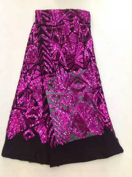 2019 African Design Purple Net Lace Fabric/ High Quality Nigeria Mesh Lace/ French Tulle Lace Fabric For Fashion Dress Sequins