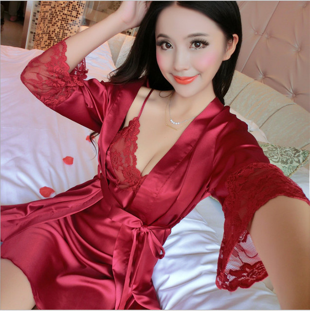 2017Brand New Sexy Lingerie Women Hot Lace Sleepwear Soft Satin Nightgown Underwear Sexy Pajamas Night Dress