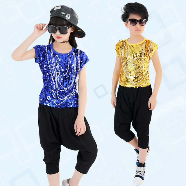 41e4b0cdc9653 US $210.0 |10pcs/lot Free Shipping Sequin Hip Hop Dance Costumes Boys Girls  Kids Stage Ballroom Children Jazz Hiphop Dancing Clothes-in Ballroom from  ...