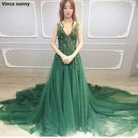 Plus Size High Side Split Green Prom Dress A Line Tulle Long Party Dress Beaded Sequined