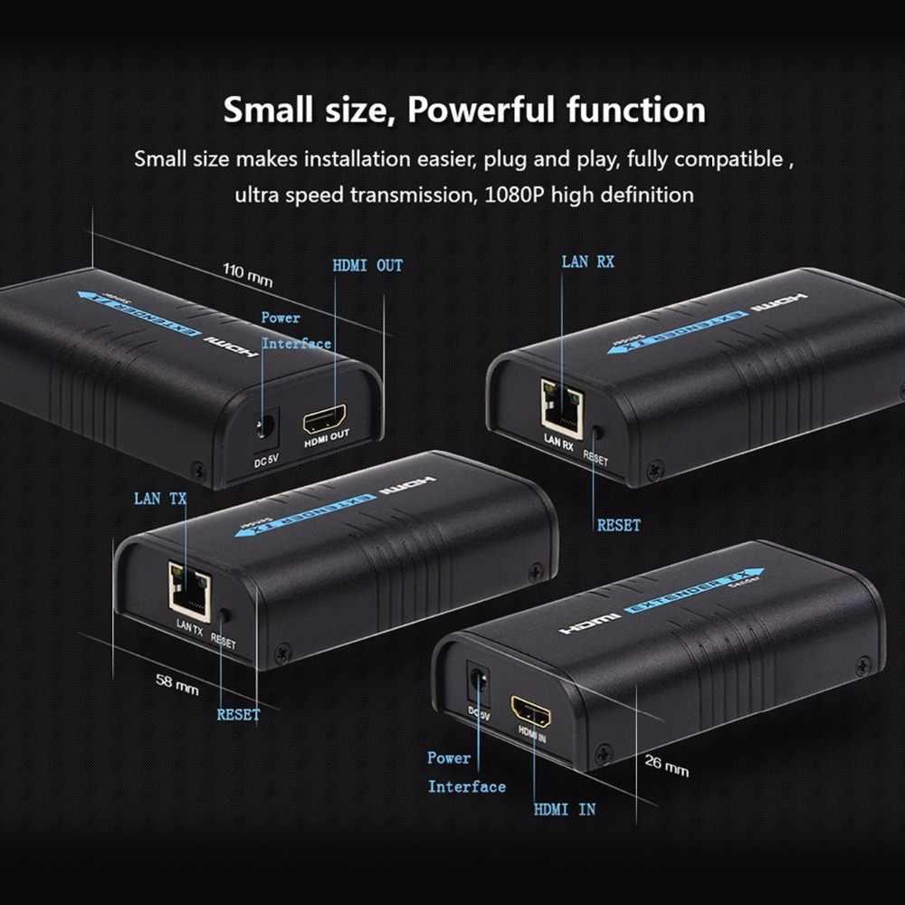 120m 1080p الارسال أو استقبال أكثر من IP TCP HDMI موسع إيثرنت عبر Lan إشارة RJ45 cat5 cat6 cat5e HDMI موسع TX/RX
