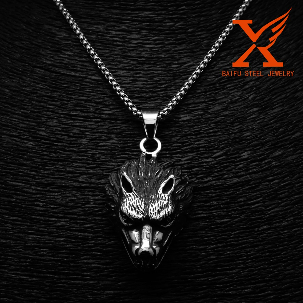 24 3MM Stainless Steel Wolf Head Werewolf Gothic Punk Tribal Pendant Necklace Box Chain