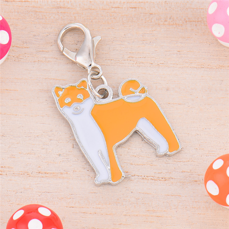 2 * 2.5 cm Metal Durable Dog Tag Shiba Inu Style Pet Decorations Key Ornaments