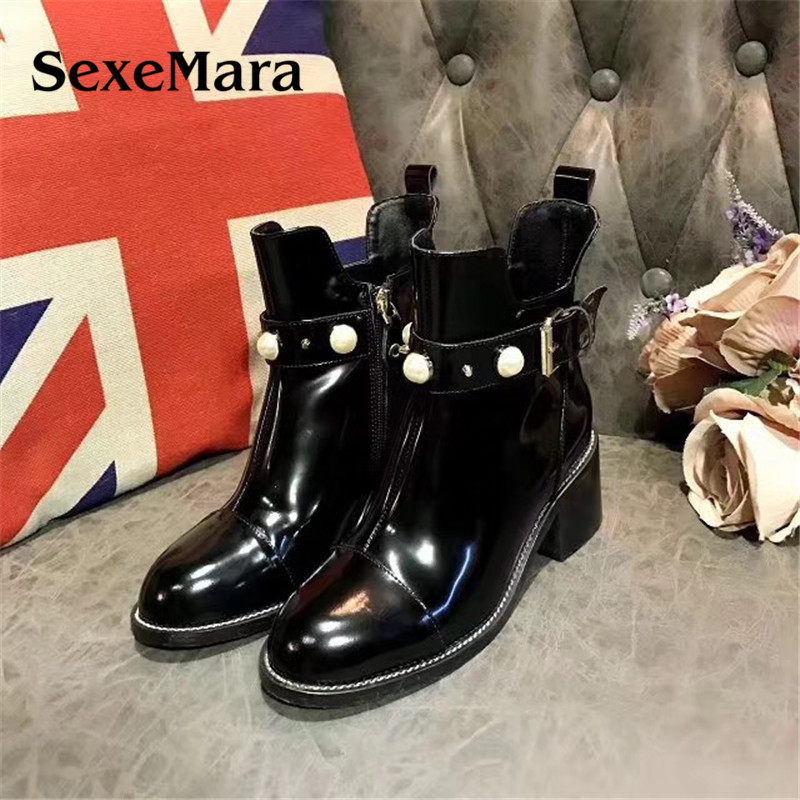 SexeMara 2017 New Women Genuine Leather Boots Pearl Square Heels boots Handmade High Quality Round Toe Female Shoes black 2016 wine red navy blue cashmere genuine leather round toe shallow mouth ultra high heels female boots female