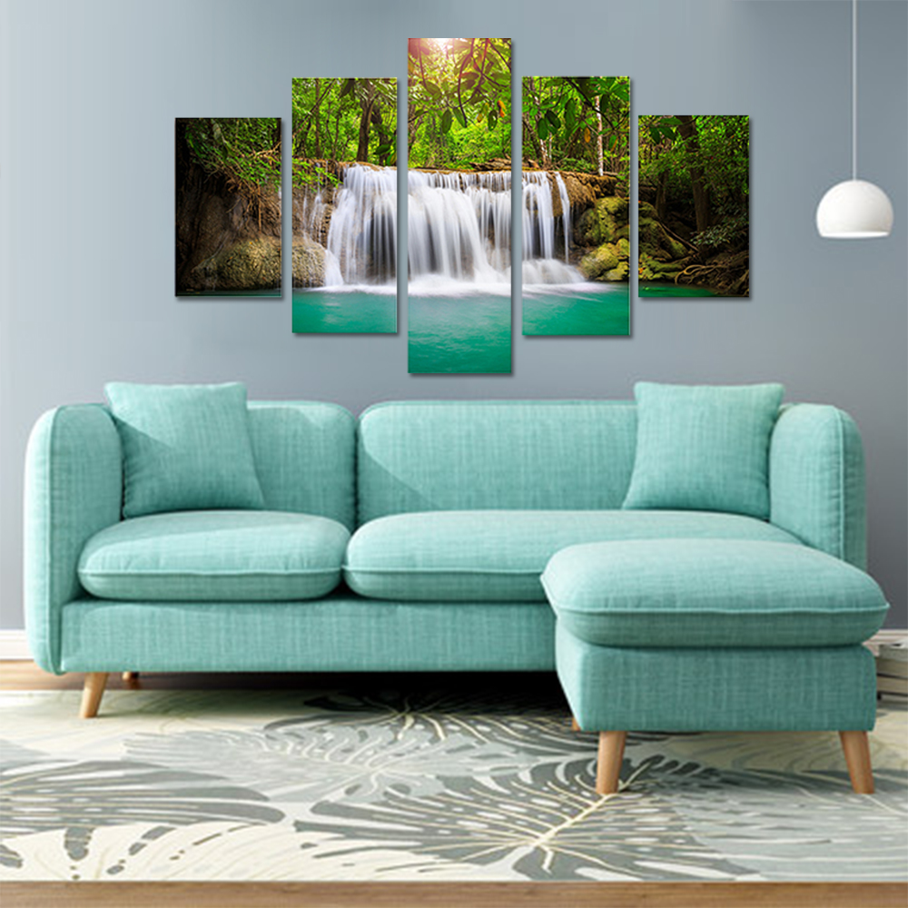 Unframed HD Canvas Prints Refreshing Painting Forest Waterfall Picture Prints Wall Picture For Living Room Wall Art Decoration