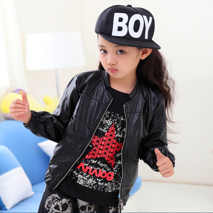 New 2014 Autumn Winter Kids Jackets Coats Girls Leather Jackets